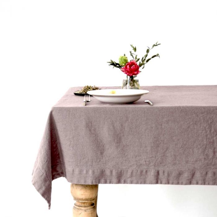 Ashes of roses - tovaglia in lino rosa antico scuro