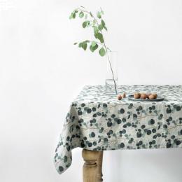 Eucalyptus - tovaglia in lino naturale stampa floreale