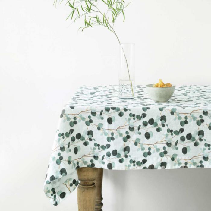 Eucalyptus - tovaglia in lino bianco stampa floreale