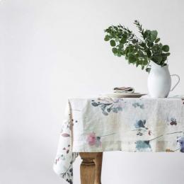 Watercolor - tovaglia in lino naturale stampa floreale