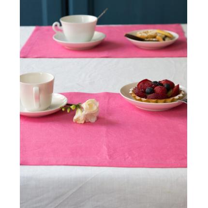 Set due tovagliette in lino rosa