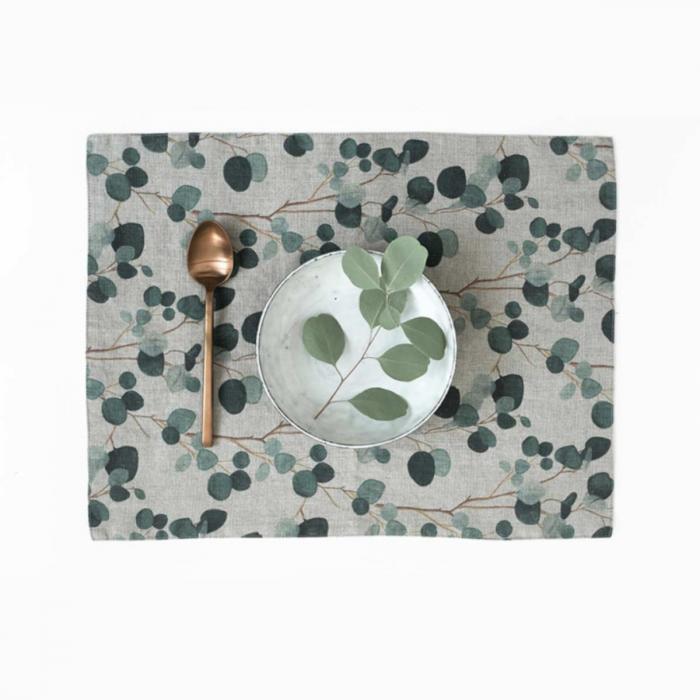 Eucalyptus - set 6 tovagliette in lino naturale stampa con foglie