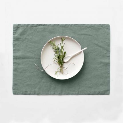 Green milieu - set 6 tovagliette in lino verde