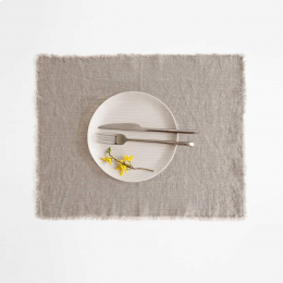 Set 6 tovagliette in lino naturale con frange