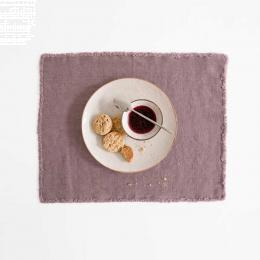 Set 6 tovagliette in lino rosa antico con frange