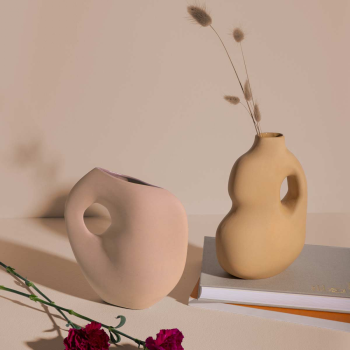 Aura - Vaso in ceramica giallo senape