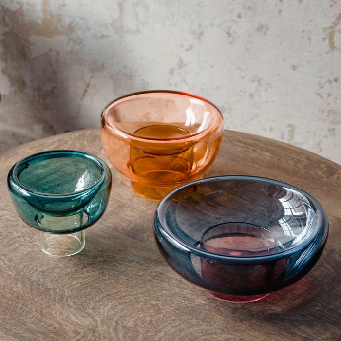 Sphere - vaso doppio in vetro arancione