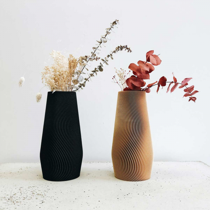 Wave - vaso di design color legno naturale