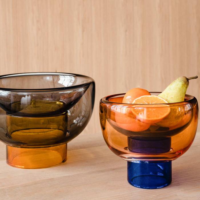 Sphere - vaso ciotola  in vetro arancione e blu