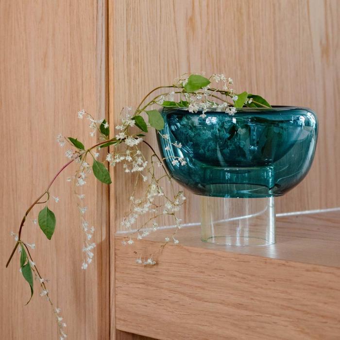 Sphere - vaso ciotola  in vetro azzurro