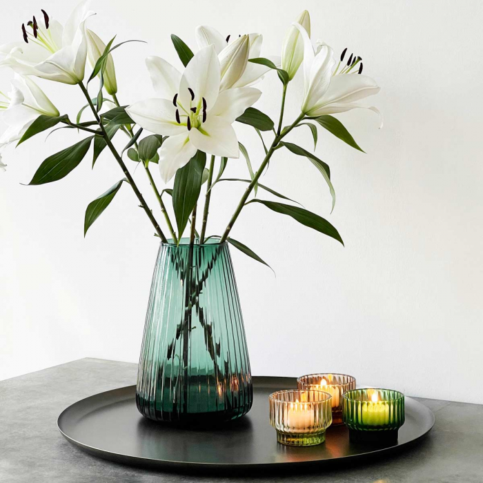 DIM Stripe large - vaso in vetro soffiato verde chiaro