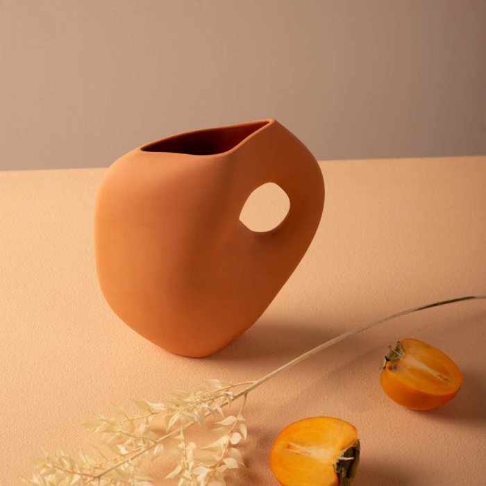 Aura - Vaso in ceramica color albicocca