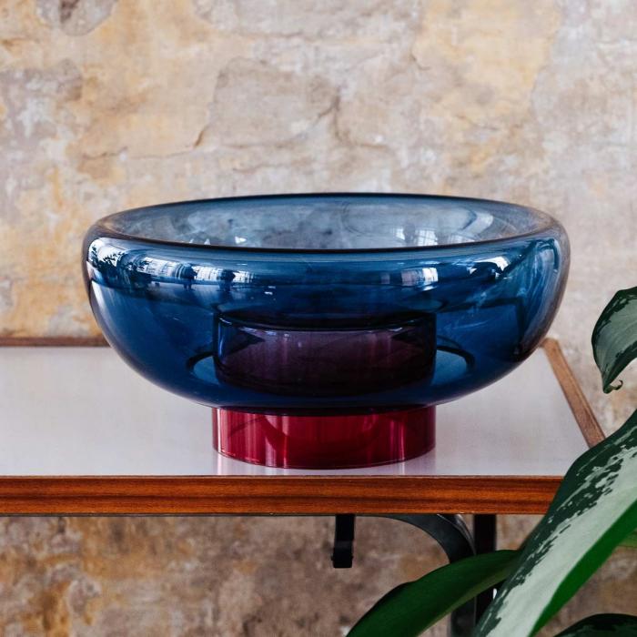 Sphere - vaso in vetro blu e rosso
