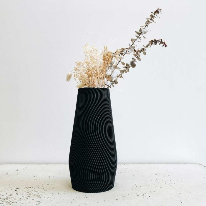 Wave - vaso nero decorativo