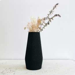 Wave - vaso nero decorativo