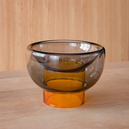 Sphere - vaso doppio in vetro grigio e arancione