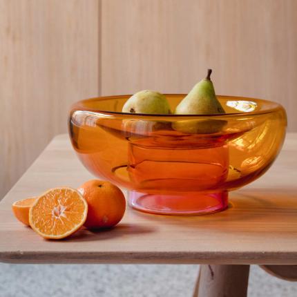Sphere - vaso in vetro arancione e rosa
