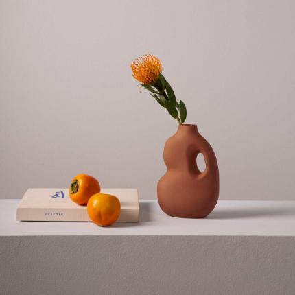 Aura - Vaso in ceramica color ruggine