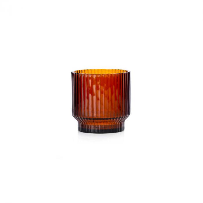 Volta - vaso in vetro soffiato ambra