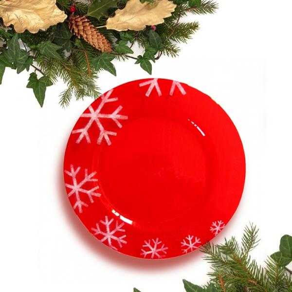 Centrotavola rosso in vetro di Murano ideato per il Natale