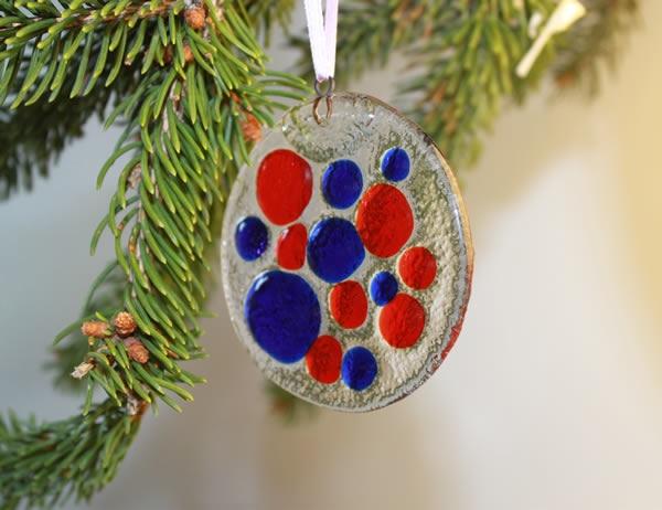 Decorazione di Natale in vetro di Murano a forma circolare