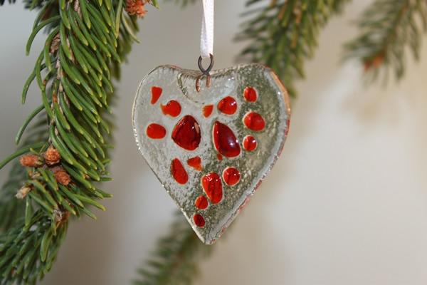 Decorazione natalizia a forma di cuore in vetro di Murano